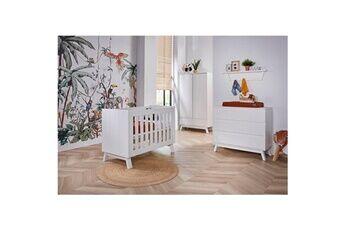 Twf Chambre complète lit bébé 60x120 - commode à langer - armoire 2 portes happy island - blanc