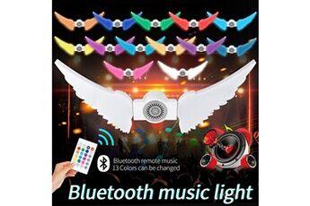 130led 50w rgb + w sans fil smart bluetooth music player ampoule d'aile d'ange pliable blanc