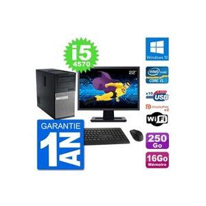 """Dell Pc tour dell 7020 ecran 22"""" intel i5-4570 ram 16go disque 250go windows 10 wifi"""