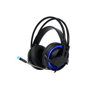 YONIS Casque gaming pc oreillettes filaire usb micro flexible 7 lumières led noir bleu - yonis