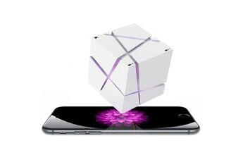 Shot Case Enceinte cube bluetooth pour nokia 8 smartphone carte tf auxiliaire haut parleur musique led (blanc)
