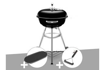 weber barbecue weber compact kettle 47 cm + plancha + brosse
