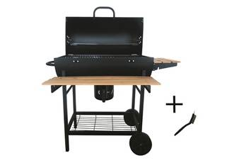 robby barbecue à charbon 70x35cm + brosse - robby - smoker chef xl +