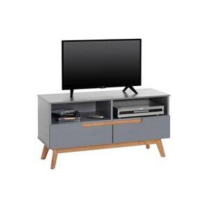 IDIMEX Meuble tv tibor banc télé de 109 cm au style scandinave design vintage nordique avec 2 tiroirs 2 niches, en pin massif lasuré gris