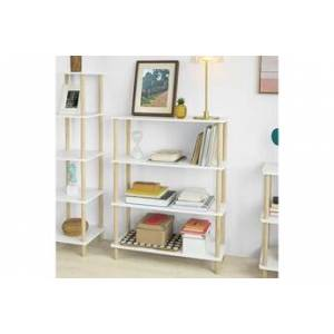 Sobuy® str03-wn étagère de rangement bibliothèque étagère avec 4 tablettes étagère de cuisine étagère polyvalente