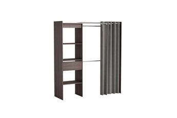 Demeyere Dressing en bois noir extensible avec niches tiroir penderies + rideau coton chicago