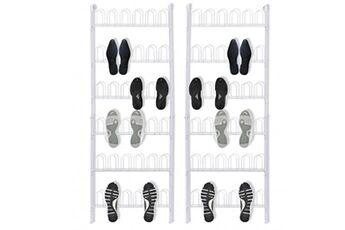 GENERIQUE Produits ménagers collection mbabane étagère à chaussures 18 paires 2 pièces acier blanc