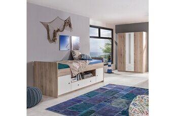 Pegane Ensemble chambre ado/enfant en imitation chêne san remo, rechampis blanc - 90 x 200 cm -pegane-
