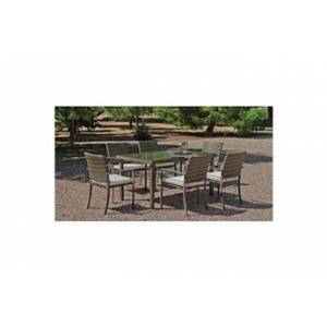 Hevea Jardin Ensemble tables et chaises Set abasari 180/6+6c Acier - blanc anais
