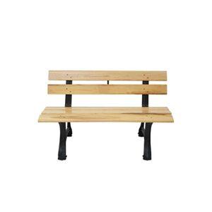 Mendler Banc de jardin hwc-f96, banc du parc, banquette en bois, fonte ~ 2 places, 125cm marron clair