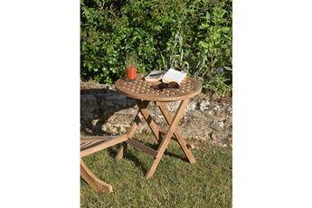 HEAVEN Table pique-nique ronde, 2 couverts, teck massif, brut