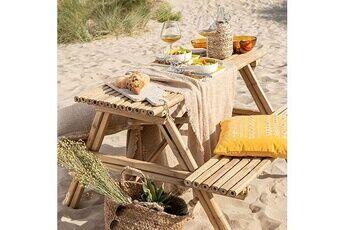 Maisonetstyles Ensembe table de pique nique 204x20x74 cm en bambou naturel