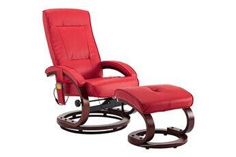 generique icaverne - fauteuils électriques sublime fauteuil de massage avec repose-pieds rouge similicuir