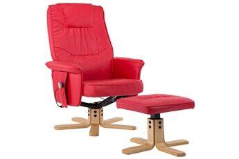 generique icaverne - fauteuils électriques moderne fauteuil de massage avec repose-pieds rouge similicuir