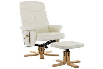 generique icaverne - fauteuils électriques stylé fauteuil de massage avec repose-pieds crème similicuir