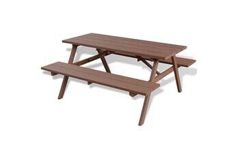 Vidaxl Table et bancs de pique-nique marron 150 x 139 x 72,5 cm wpc