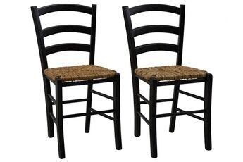 Vente-unique Lot de 2 chaises paysanne - hêtre massif & paille de riz - teinte : noir