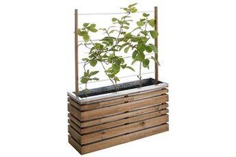 Jardipolys Bac à fleur en bois rectangulaire avec treillis lignz 100