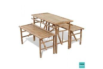 Casasmart Table de pique nique bambou 2 bancs inclus cs415021