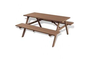Casasmart Table et bancs de pique-nique 150 x 139 x 72,5 cm wpc marron - cs423851