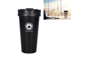 Prixwhaou Thermos & gobelets-500ml portable double paroi 304 en acier inoxydable revêtement isolant sous vide tasse à café bouteille (noir)