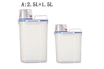 Plastique céréale distributeur boîte de rangement cuisine alimentaire grain riz récipient nice 2 pcs