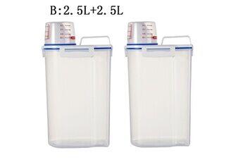 Generic Plastique céréale distributeur boîte de rangement cuisine alimentaire grain riz récipient nice 2 pcs accessoire de cuisine 4663