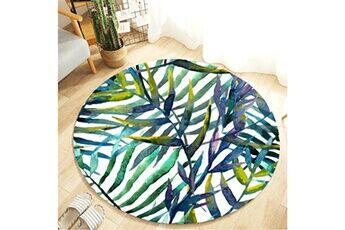 Generic Plante tropicale laisse motif rond flanelle salle de bain cuisine tapis 80 cm accessoire de cuisine 6750