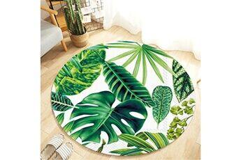 Generic Plante tropicale laisse motif rond flanelle salle de bain cuisine tapis 80 cm accessoire de cuisine 6731