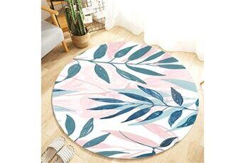 Generic Plante tropicale feuilles motif rond flanelle salle de bain cuisine tapis 80 cm vinwo921