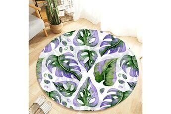 Generic Plante tropicale feuilles motif rond flanelle salle de bain cuisine tapis 80 cm vinwo948