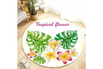 Generic Plante tropicale feuilles motif rond flanelle salle de bain cuisine tapis 80 cm vinwo919