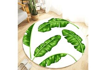 Generic Plante tropicale feuilles motif rond flanelle salle de bain cuisine tapis 80 cm vinwo929