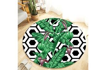 Generic Plante tropicale feuilles motif rond flanelle salle de bain cuisine tapis 80 cm vinwo931
