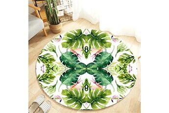 Generic Plante tropicale feuilles motif rond flanelle salle de bain cuisine tapis 80 cm vinwo945