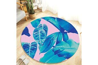 Generic Plante tropicale feuilles motif rond flanelle salle de bain cuisine tapis 80 cm vinwo934