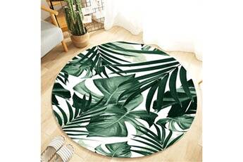 Generic Plante tropicale feuilles motif rond flanelle salle de bain cuisine tapis 80 cm vinwo927