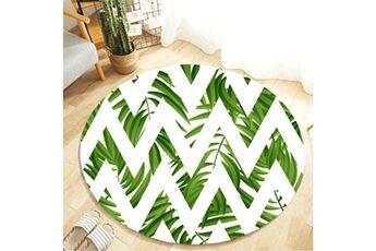 Generic Plante tropicale laisse motif rond flanelle salle de bain cuisine tapis 80 cm accessoire de cuisine 6699