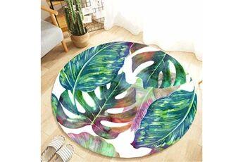 Generic Plante tropicale laisse motif rond flanelle salle de bain cuisine tapis 80 cm accessoire de cuisine 6755