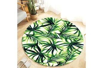 Generic Plante tropicale feuilles motif rond flanelle salle de bain cuisine tapis 80 cm vinwo930