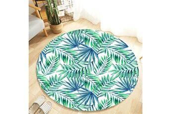 Generic Plante tropicale feuilles motif rond flanelle salle de bain cuisine tapis 80 cm vinwo932