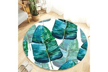 Generic Plante tropicale feuilles motif rond flanelle salle de bain cuisine tapis 80 cm vinwo947
