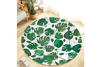 Generic Plante tropicale feuilles motif rond flanelle salle de bain cuisine tapis 80 cm vinwo937
