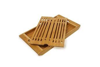 Helloshop26 Planche à pain avec compartiment ramasse miette en bambou helloshop26 4313004