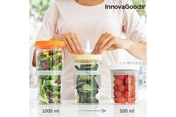 Euroweb Pots réglables et hermétiques (set de 3) - bocal de rangement aliments cuisine