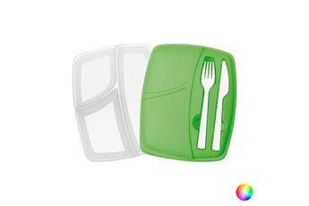 Euroweb Boîte à déjeuné avec couverts - lunch box avec fourchette et couteau boîte repas couleur - vert