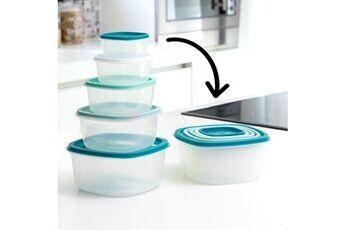 Euroweb Lunch box empilables bleu (5 pièces) - boite de conservation aliments ou repas