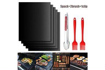 Tapis de cuisson pour barbecue, set de 5 tapis barbecue 100% anti-adhérent de bbq et feuilles de cuisson réutilisable