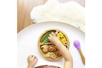 Generic Bébé bambin plaque ronde en bambou plaque d'aspiration bol d'alimentation cuillère d'aspiration ensemble vinwo778