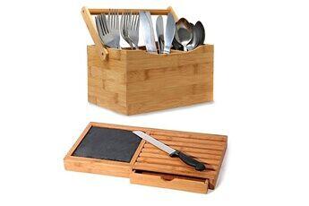 Mk Bamboo Porte-couverts maison cuisine en bambou 4 pour cuillères, couteaux, fourchettes + mk-bamboo planche à découper avec couteau